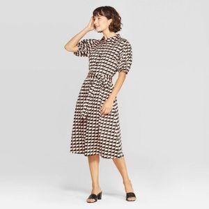Puff Short Sleeve Collared Midi Wrap Dress